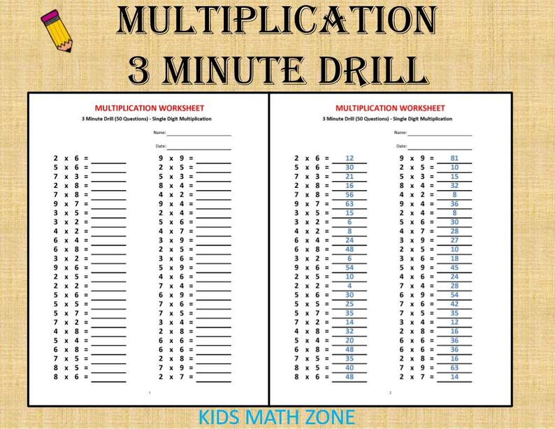 Multiplication 3 Minute Drill H With Answers 10 Sheets pdf
