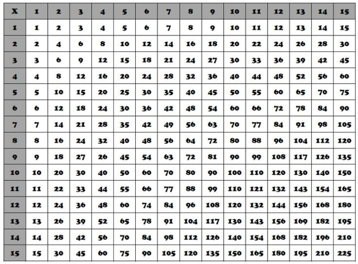 Printable Multiplication Chart 1 25