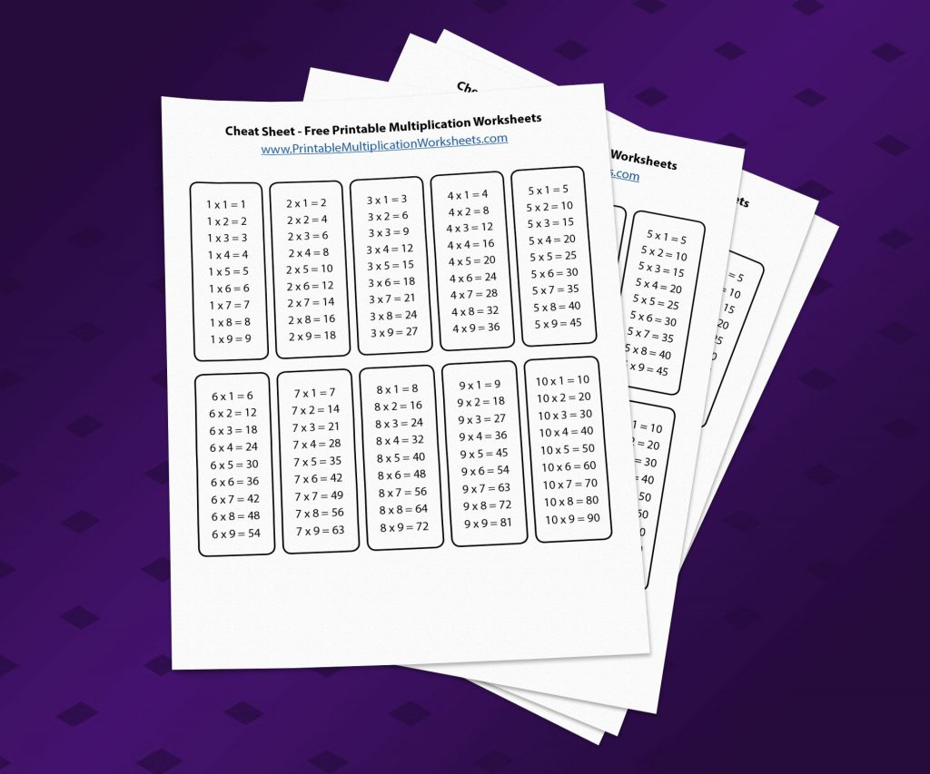 Multiplication Cheat Sheet Printable Multiplication