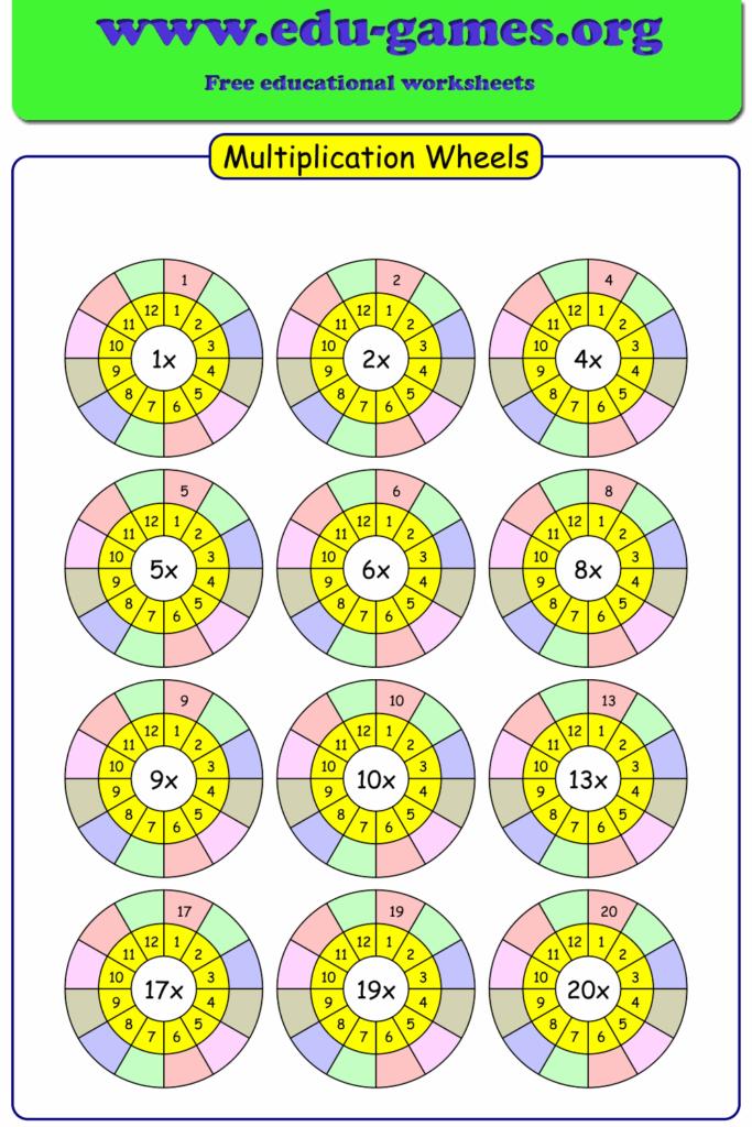Multiplication Wheels Free Printable Worksheet Makers