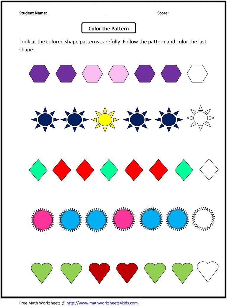 Patterns Practice Worksheet For 2nd Grade