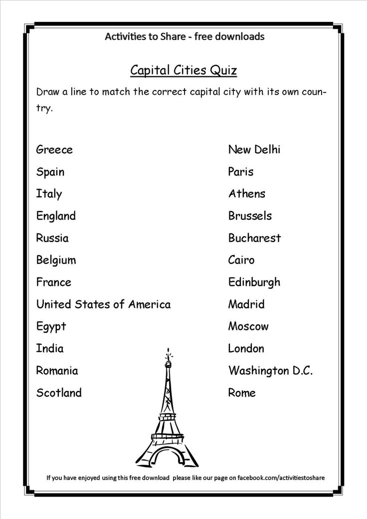 Picture Of DL34 Capital Cities Quiz Geography For Kids