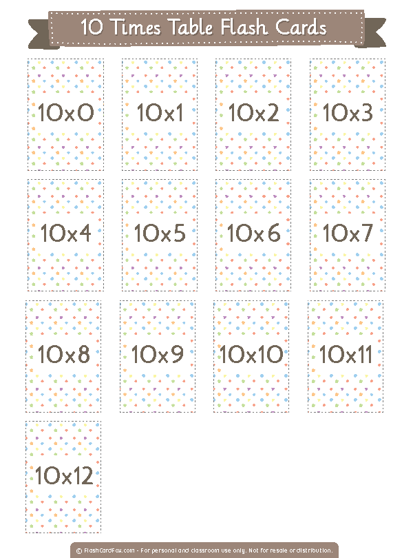 Printable 10 Times Table Flash Cards