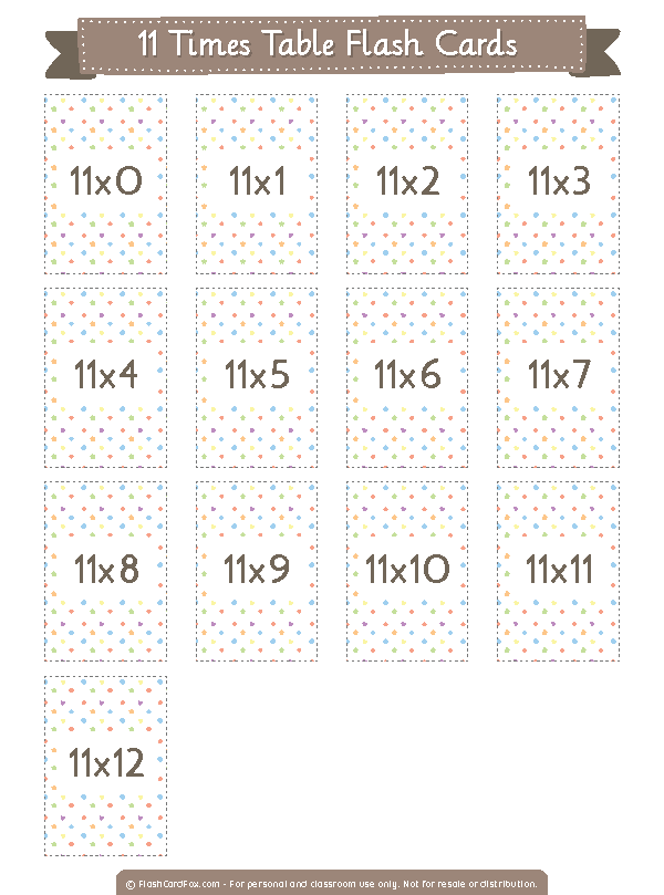 Printable 11 Times Table Flash Cards
