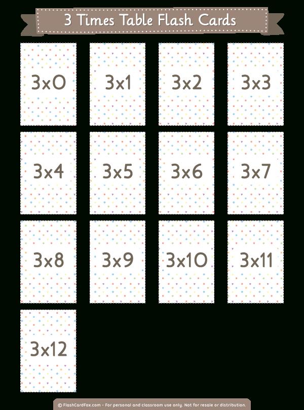 Printable 3 Times Table Flash Cards