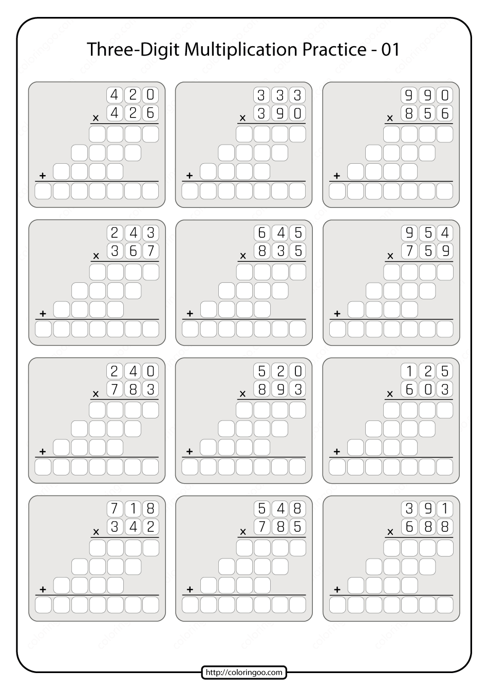 Printable 5th Grade Multiplication Worksheet 01