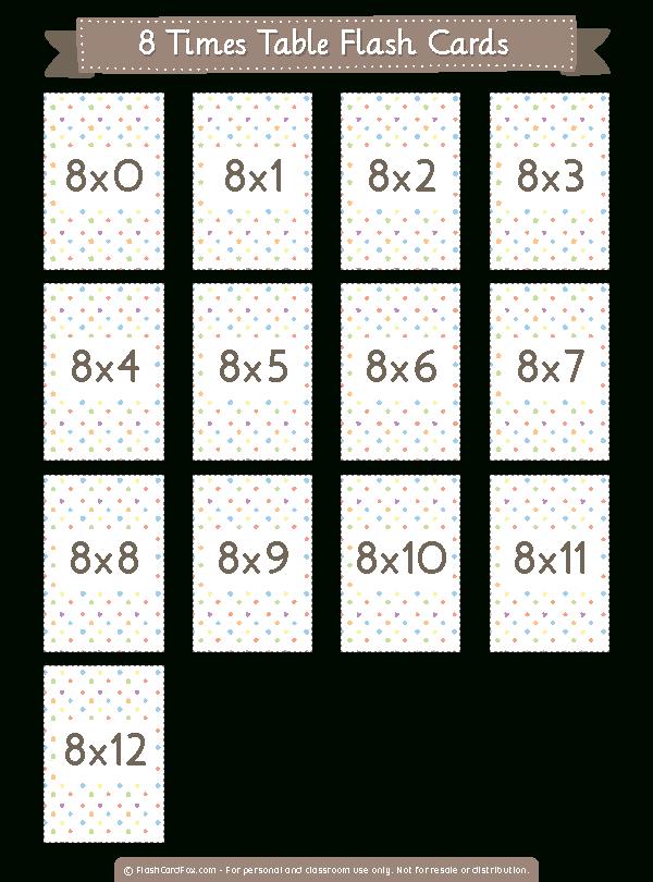 Printable 8 Times Table Flash Cards