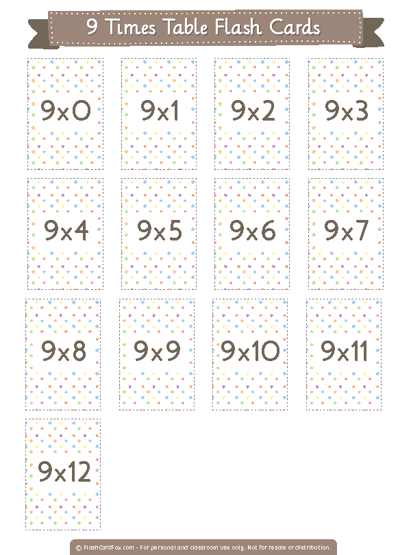 Printable 9 Times Table Flash Cards