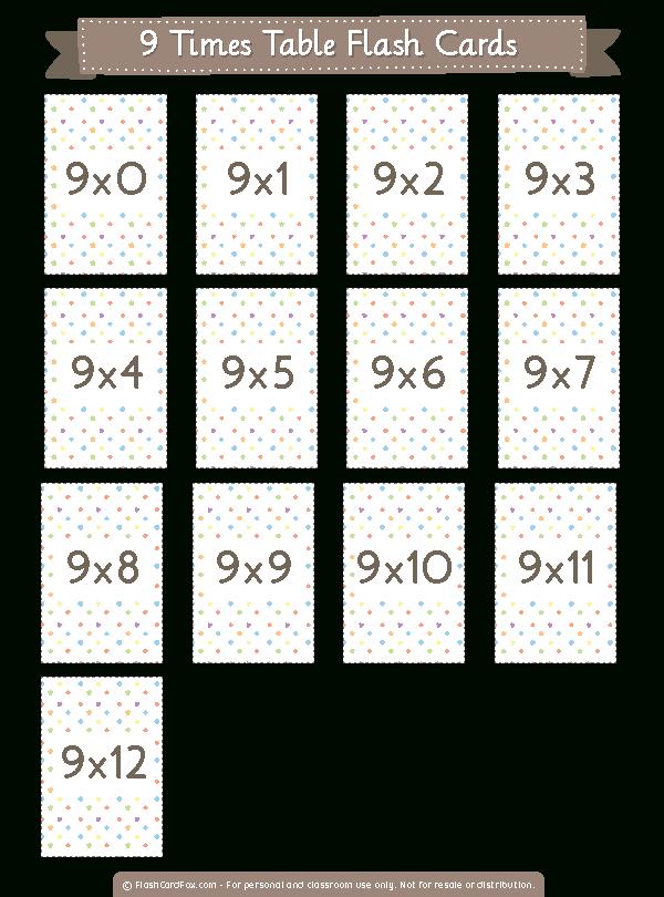 Printable 9 Times Table Flash Cards