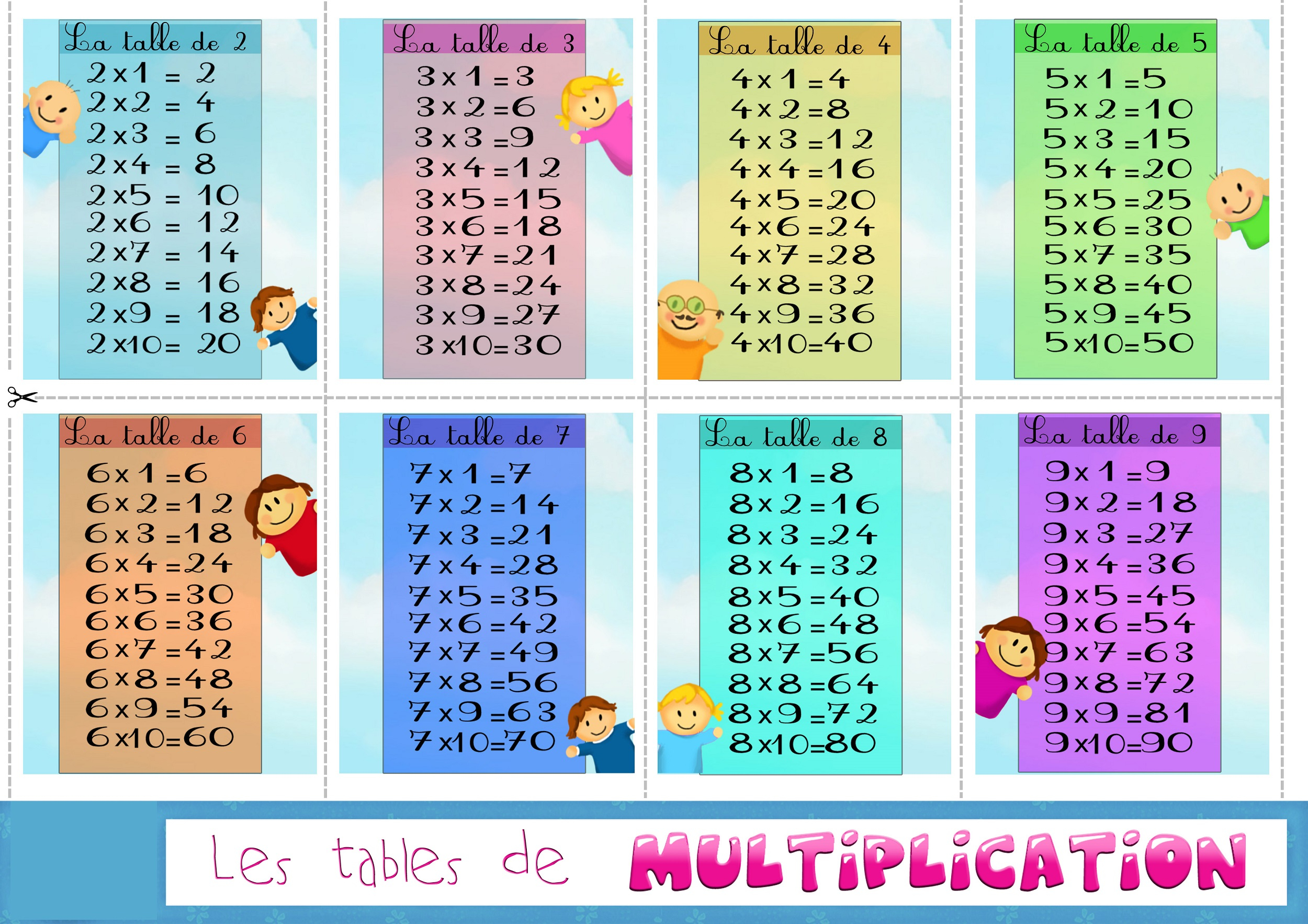 Printable Colorful Times Table Charts Activity Shelter