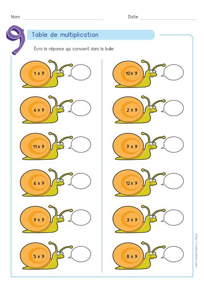 Quiz Interactif Cartes Fiches Table De Multiplication De 9