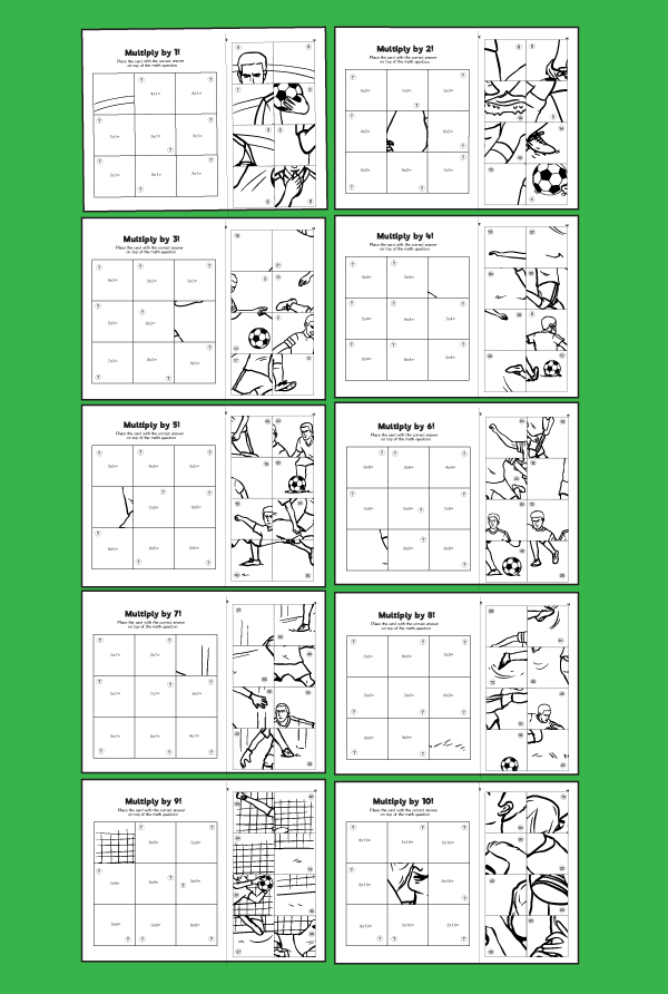 Soccer Themed 1 10 Multiplication Puzzles 10 Minutes Of