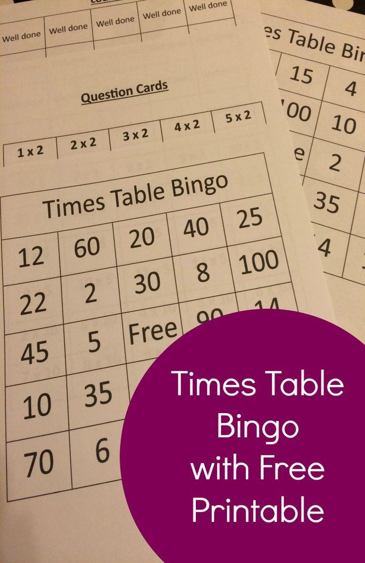 Times Table Bingo With Free Printable Times Tables
