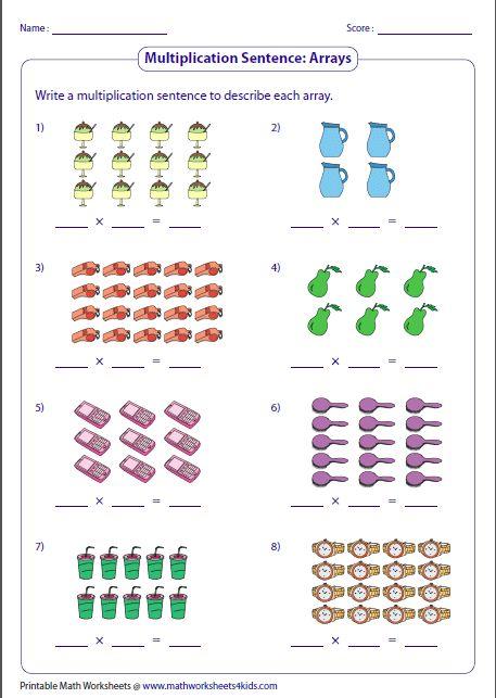 Writing Multiplication Sentences Arrays Klasse 2 Mathe